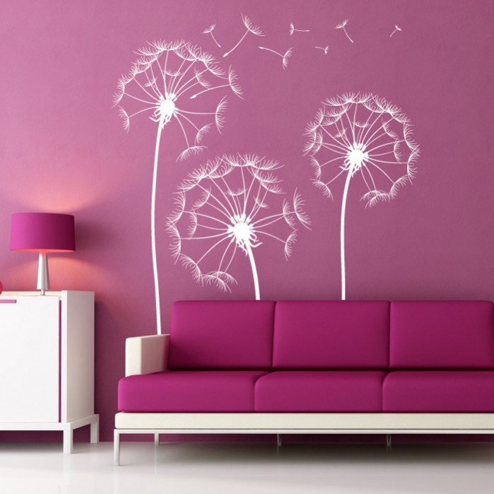 Sticker For Wall With Lovely Dandelion Flowers Cutzz