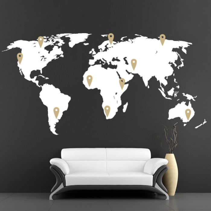 World map vinyl wall decal with pins cutzz world map vinyl wall decal with pins gumiabroncs Image collections