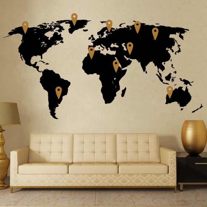 World Map Wall Decor Vinyl Stickers