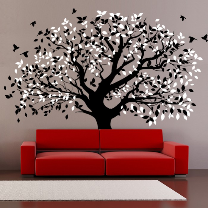 Stylish Wall Decal With Tree And Birds