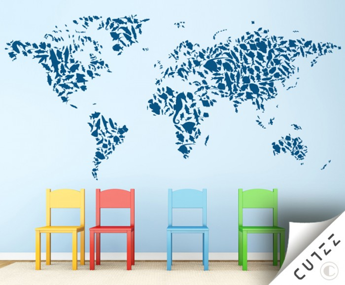 World map and aquatic animals wall decal cutzz world map and aquatic animals wall decal gumiabroncs Choice Image