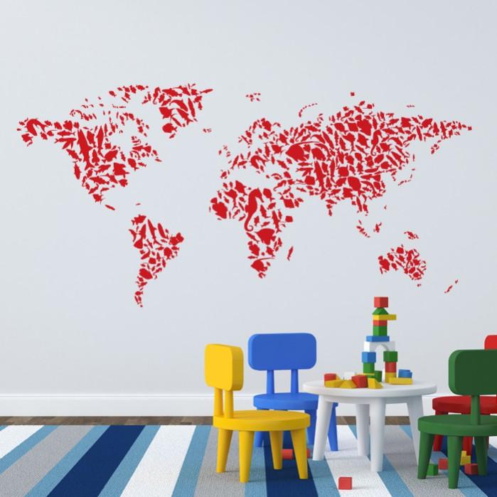 Fish Pattern Wall Decal World Map Cutzz