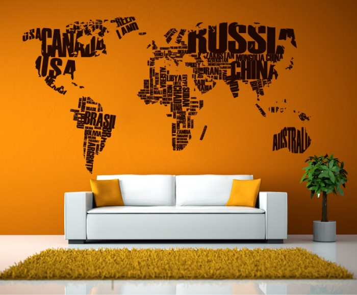 World map sticker home wall decor cutzz for Awesome wall decal directions