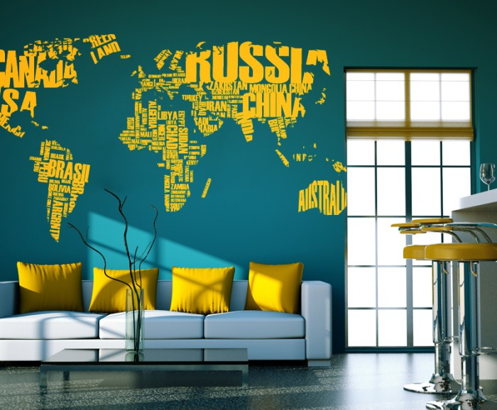 Wall Decor Stickers World Map : World map stickers home wall decor cutzz