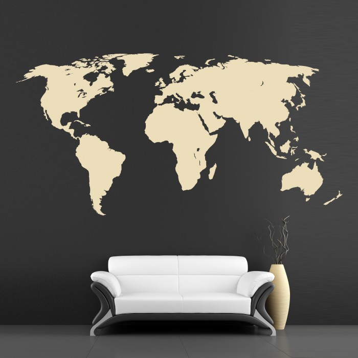 Wall decor murals world map cutzz for Black and white world map wall mural
