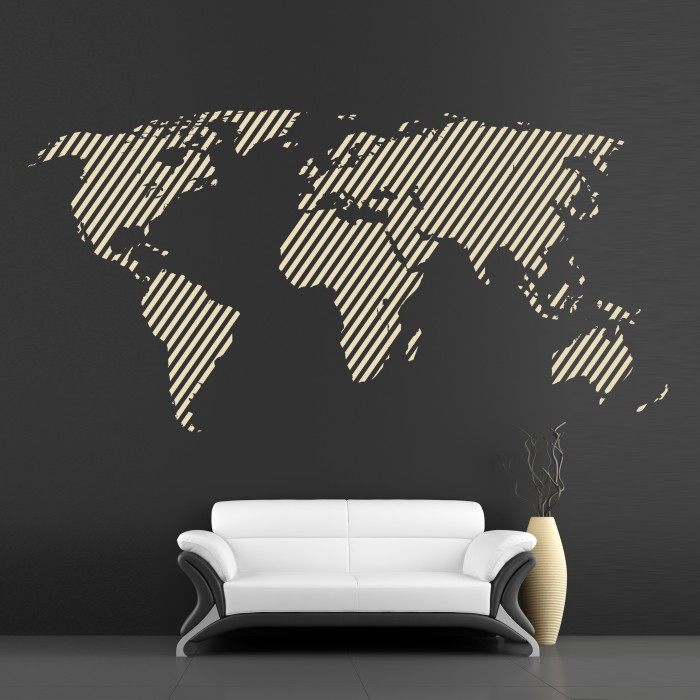 Vinyl Wall Sticker Continents World Map Cutzz