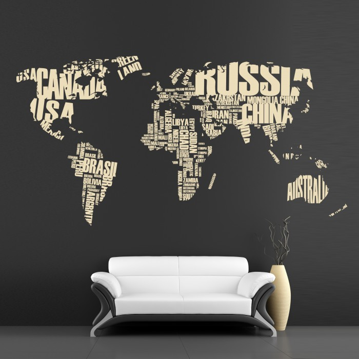 Map Wall Decal World Countries Cutzz