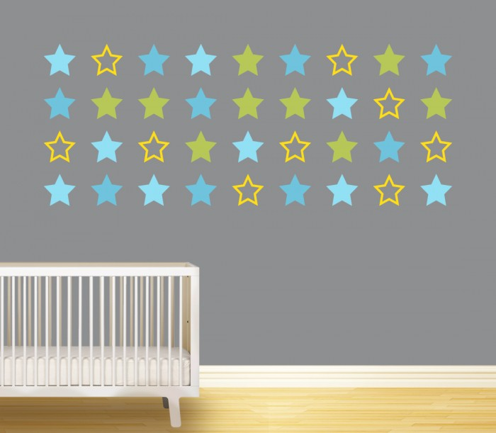 Amazon Com Moon And Stars Wall Decal Vinyl Sticker For Kids Boy Girls Baby Room Decoration Good Night Nursery Wall Decor Home House Bedroom Design Ymx16 Teal Arts Crafts Sewing