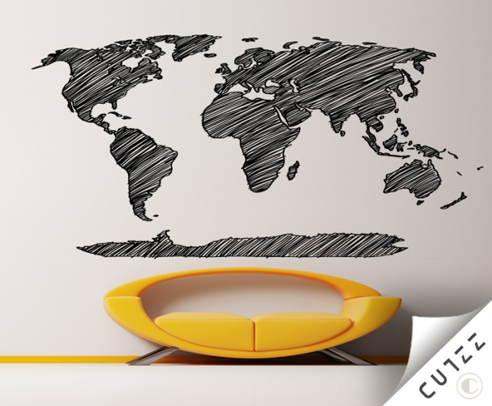 World map pencil sketch vinyl wall decal